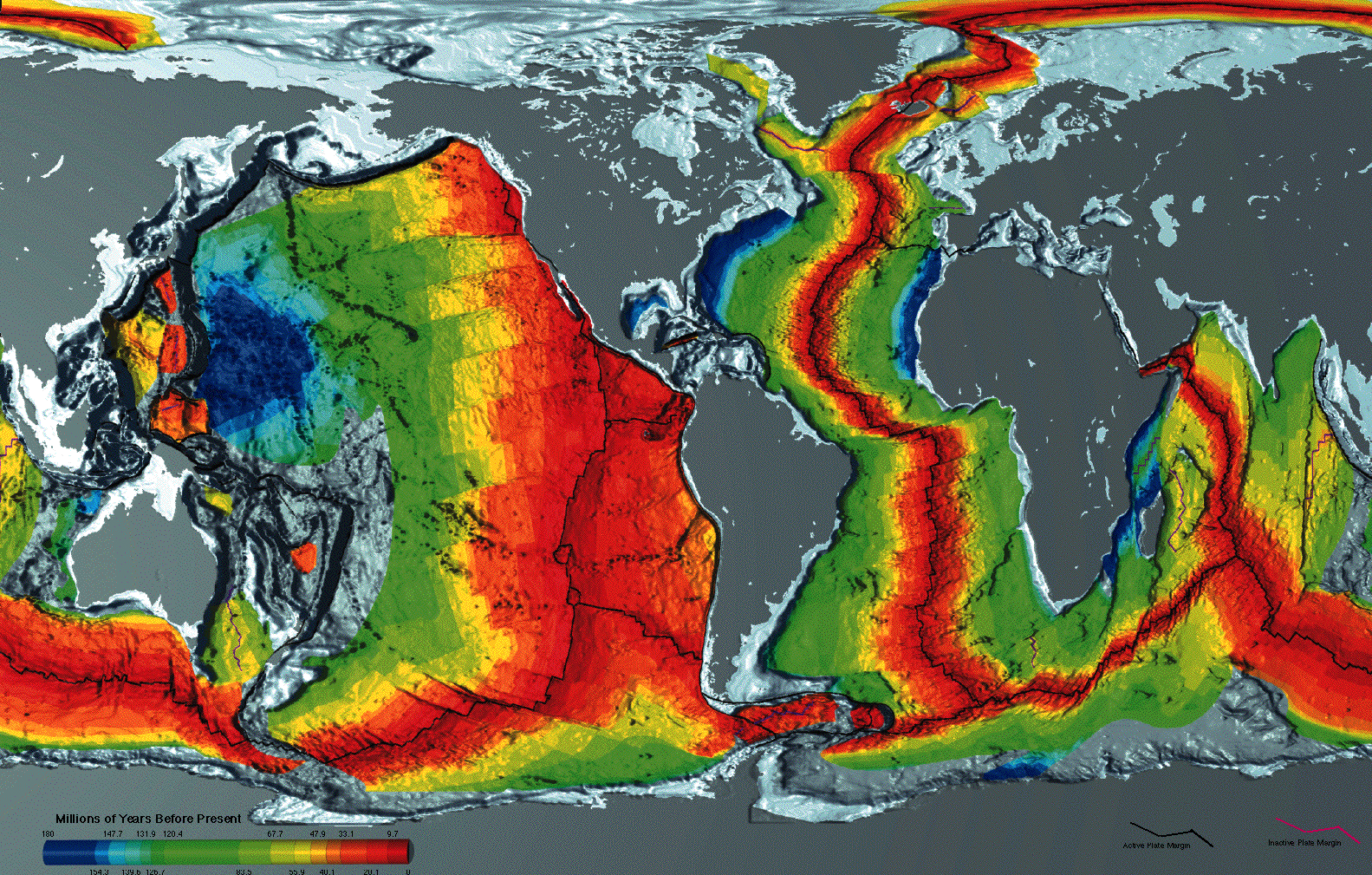Seafloor crustal age map - NOAA