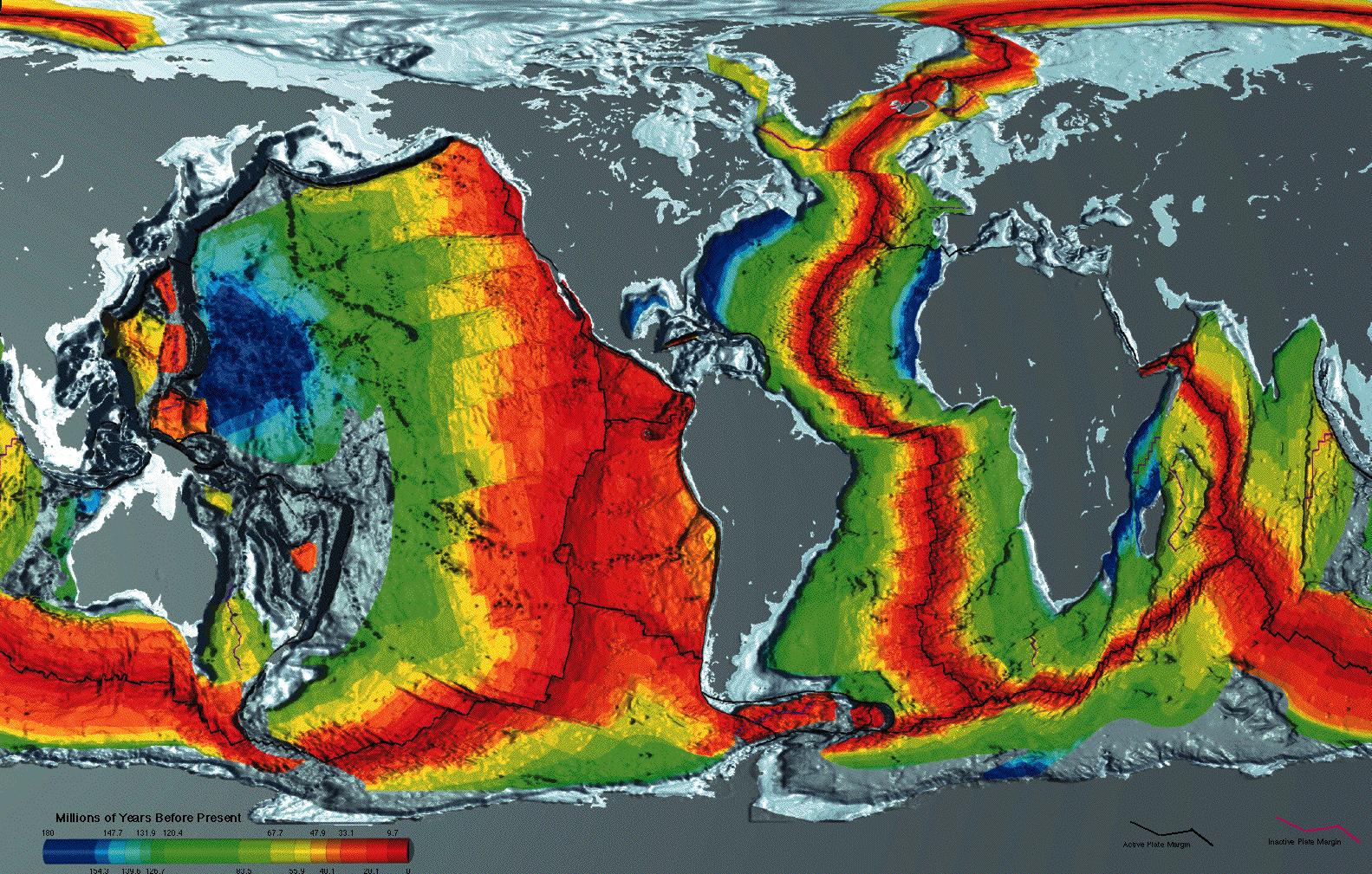 Seafloor crustal age map - NOAA