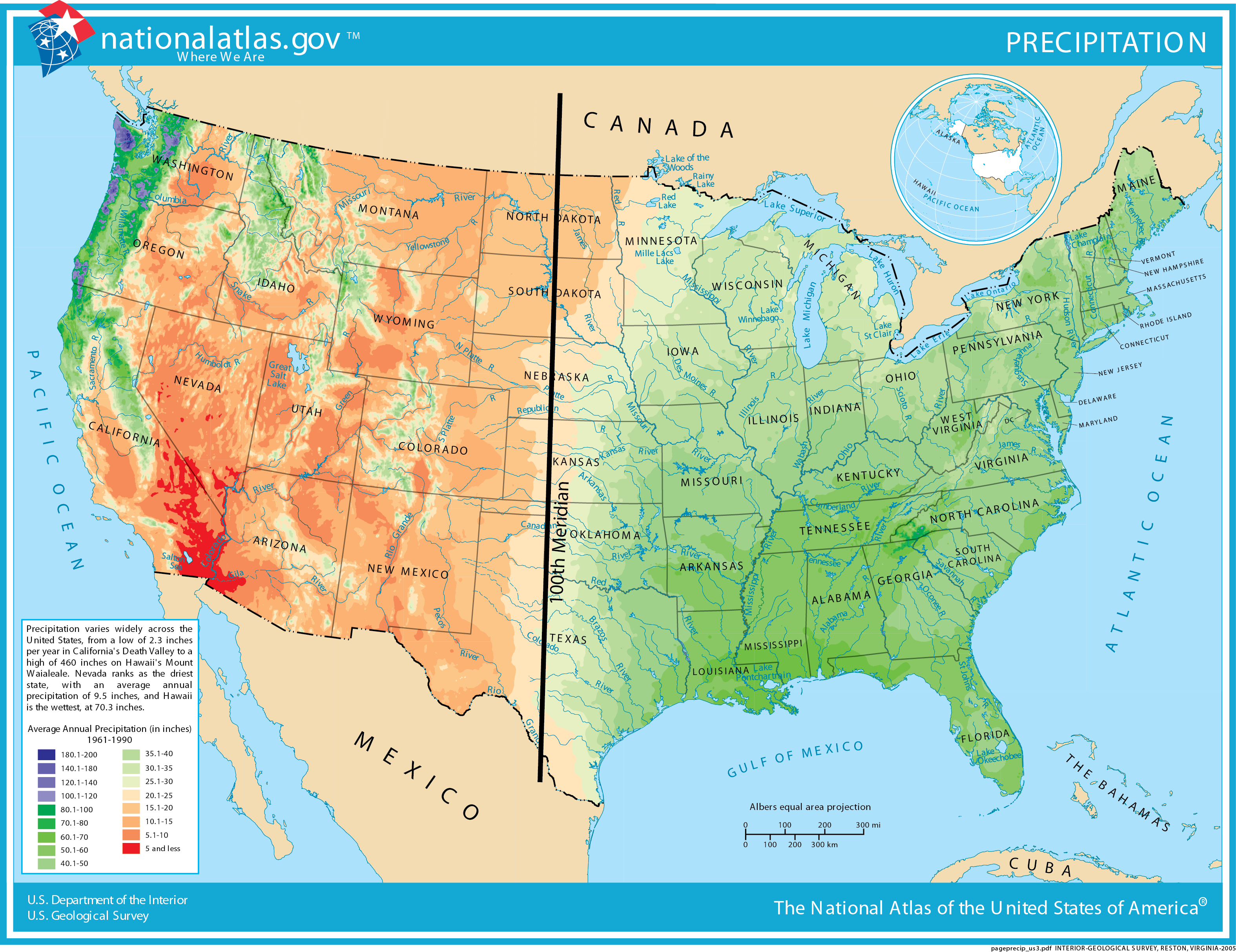 Distribution of precipitation in the United States.
