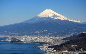 Mt. Fuji in Japan, a typical stratovolcano, symmetrical, increasing slope, visible crater at the top.