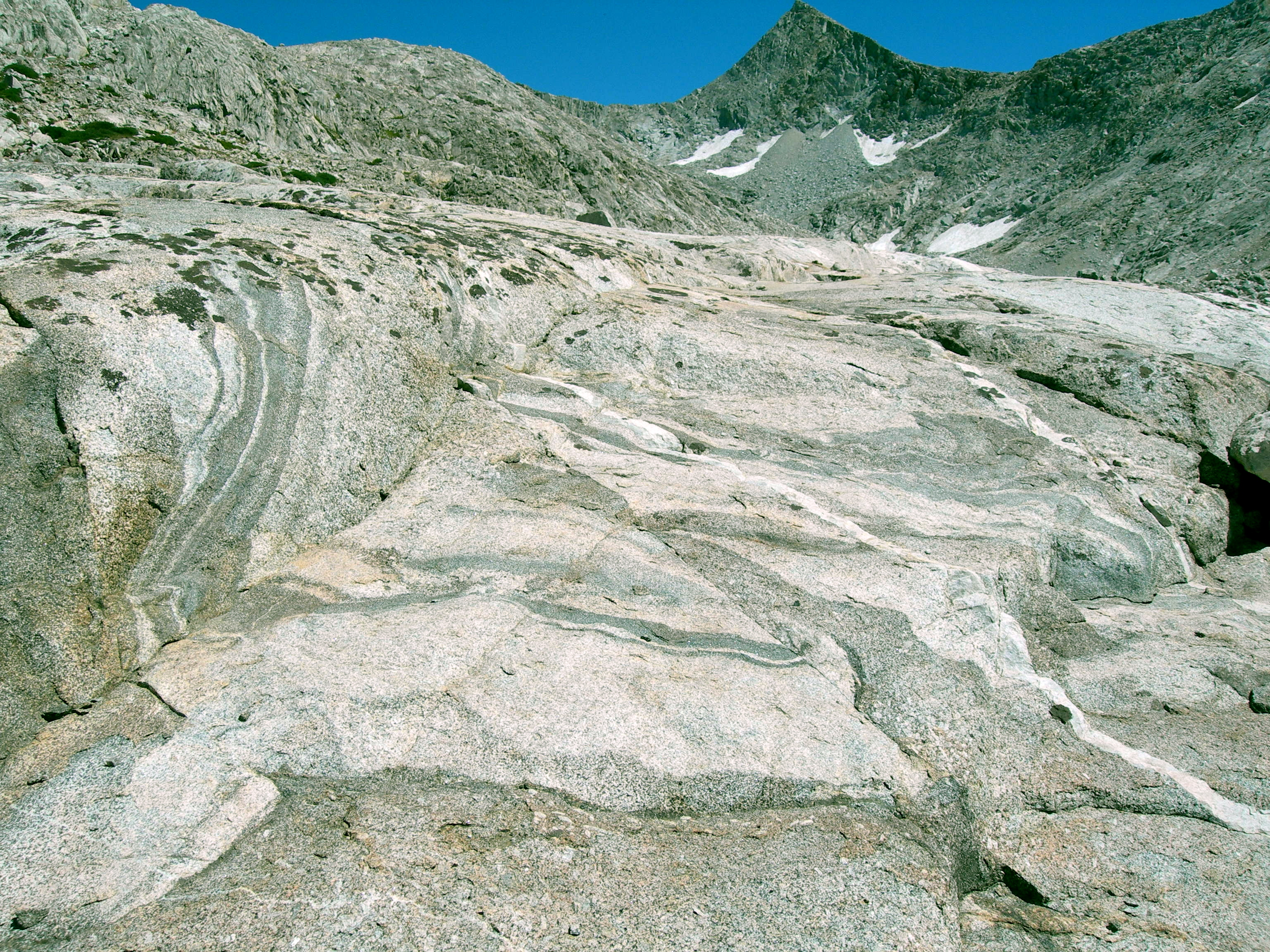 Sheared and faulted region in granite outcrop